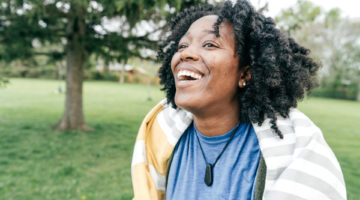 Woman smiling in park